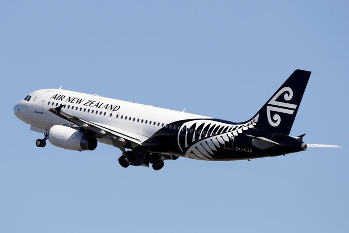An Air New Zealand passenger plane takes off from Christchurch Airport in New Zealand, Monday, March 16, 2020. (AP Photo/Mark Baker)