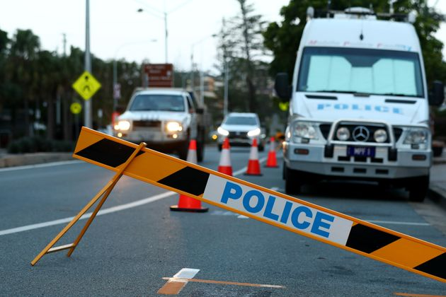 Queensland Police set up at the Queensland and New South Wales border at Coolangatta on March 25, 2020...