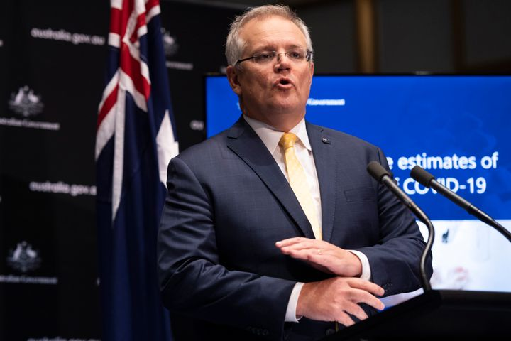 Australian Prime Minister Scott Morrison speaks at a press conference following National Cabinet at Parliament House on May 05, 2020 in Canberra, Australia.
