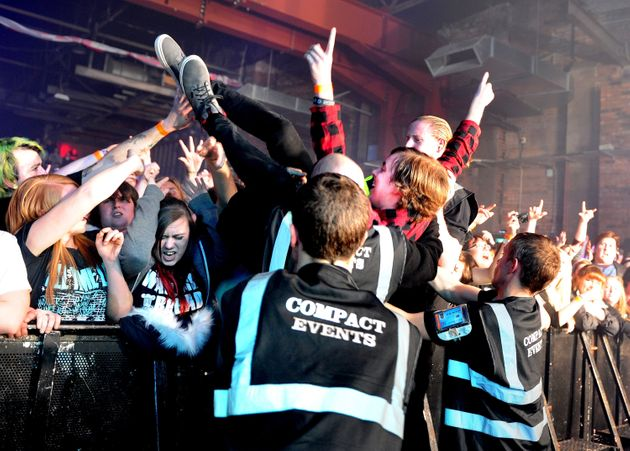 Fans of Enter Shikari at Victoria Warehouse in 2016 in
