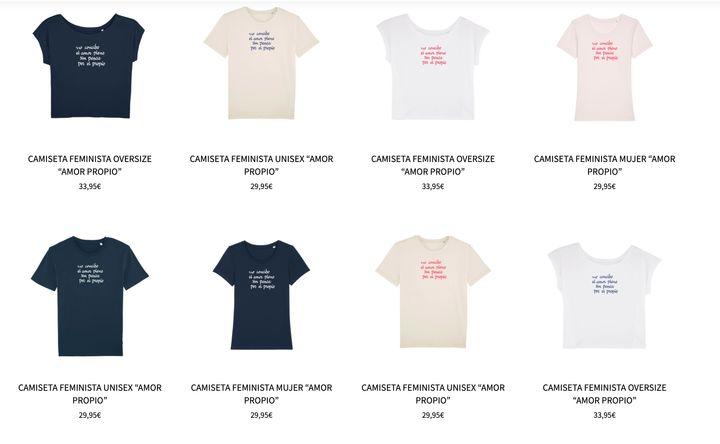 Ocho de las nueve camisetas de Albanta San Román para Uttopy.