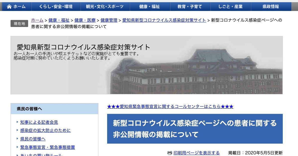 コロナ 者 新型 愛知 県 感染