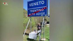 La mamma è in Veneto, lui in Trentino: il compleanno lo festeggia al confine