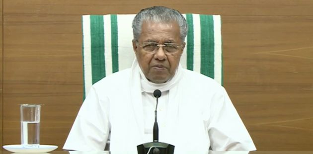 Kerala CM Pinarayi Vijayan at the press conference on May 5,