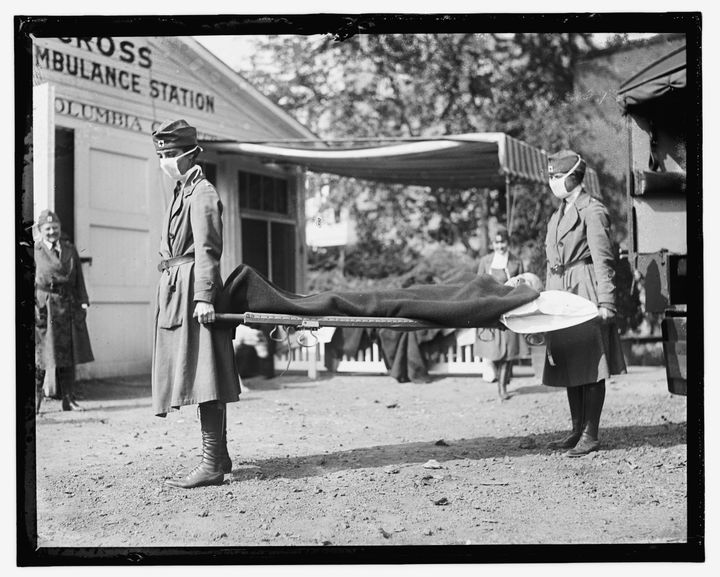 This Library of Congress photo shows a demonstration at the Red Cross Emergency Ambulance Station in Washington, D.C., during