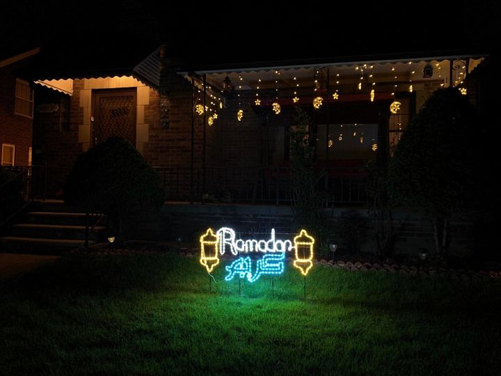 Lights celebrating Ramadan decorate a house in greater Dearborn.