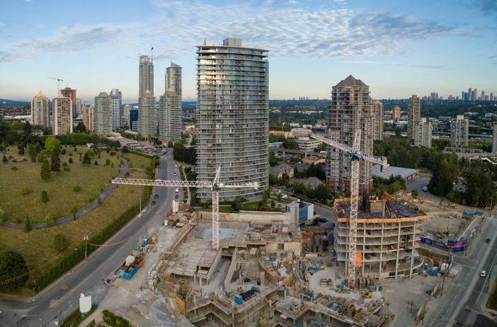 An aerial view of condo towers under construction in the Greater Vancouver city of Burnaby, B.C. Greater Toronto and Greater Vancouver are reporting steep drops in home sales amid the COVID-19 pandemic.