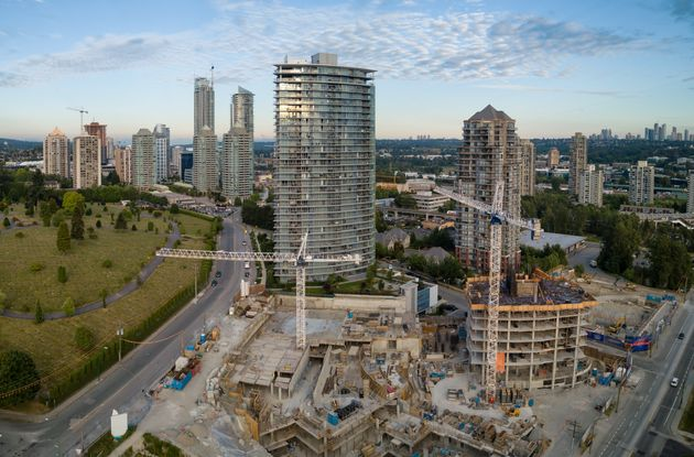 An aerial view of condo towers under construction in the Greater Vancouver city of Burnaby, B.C. Greater...