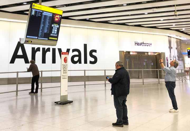 London's Heathrow Airport is seen deserted amid the ongoing COVID-19 pandemic