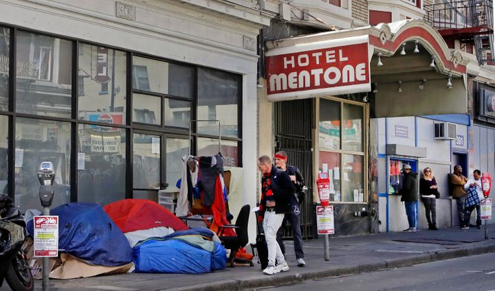 Well into April, people slept in tents and sleeping bags in the Tenderloin area of San Francisco.