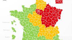 Cinq départements changent de couleur sur la carte du