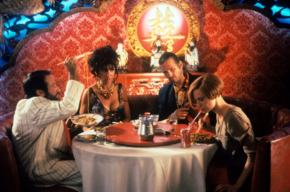 "Robin Williams, Mercedes Ruehl, Jeff Bridges and Amanda Plummer in ""The Fisher King."""