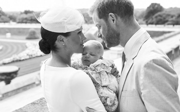 The family of three on the day of Archie's christeningat Windsor Castle on July 6, 2019.