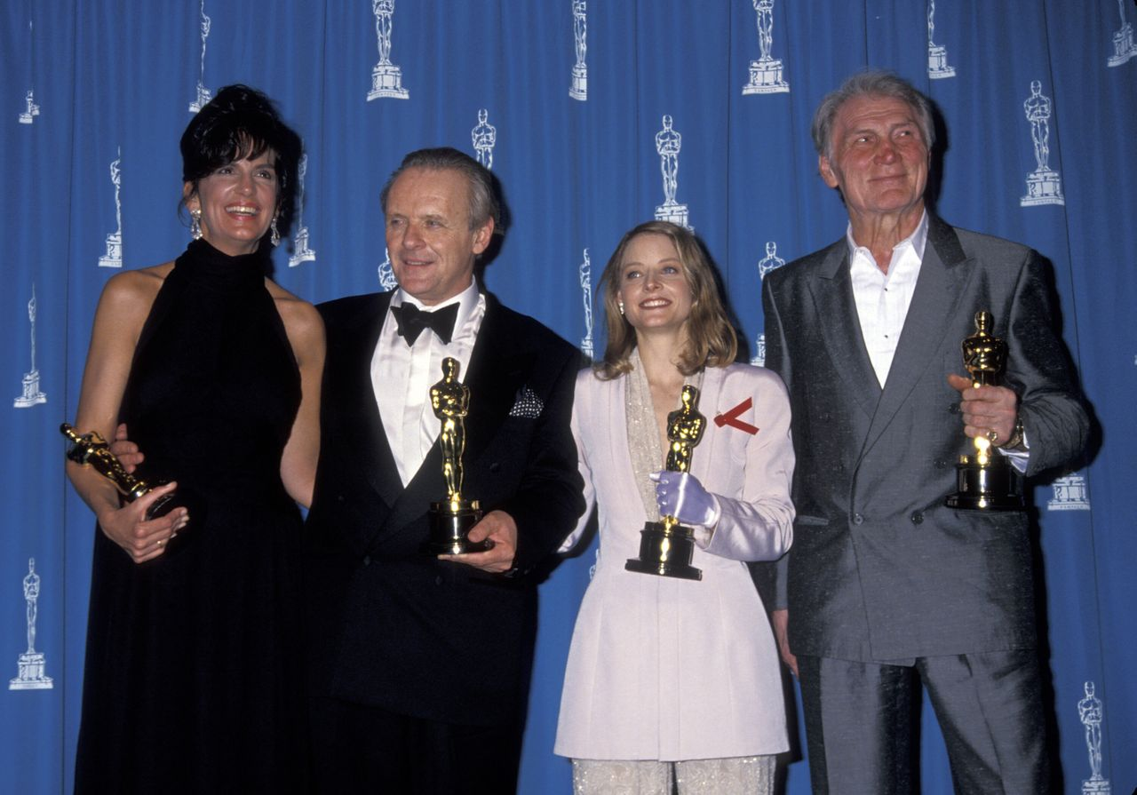 Mercedes Ruehl, Anthony Hopkins, Jodie Foster and Jack Palance with their Oscars on March 30, 1992.