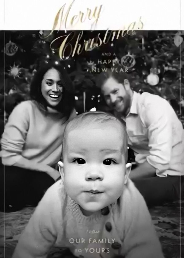 Archie was front and center in their first Christmas card as a family of three.