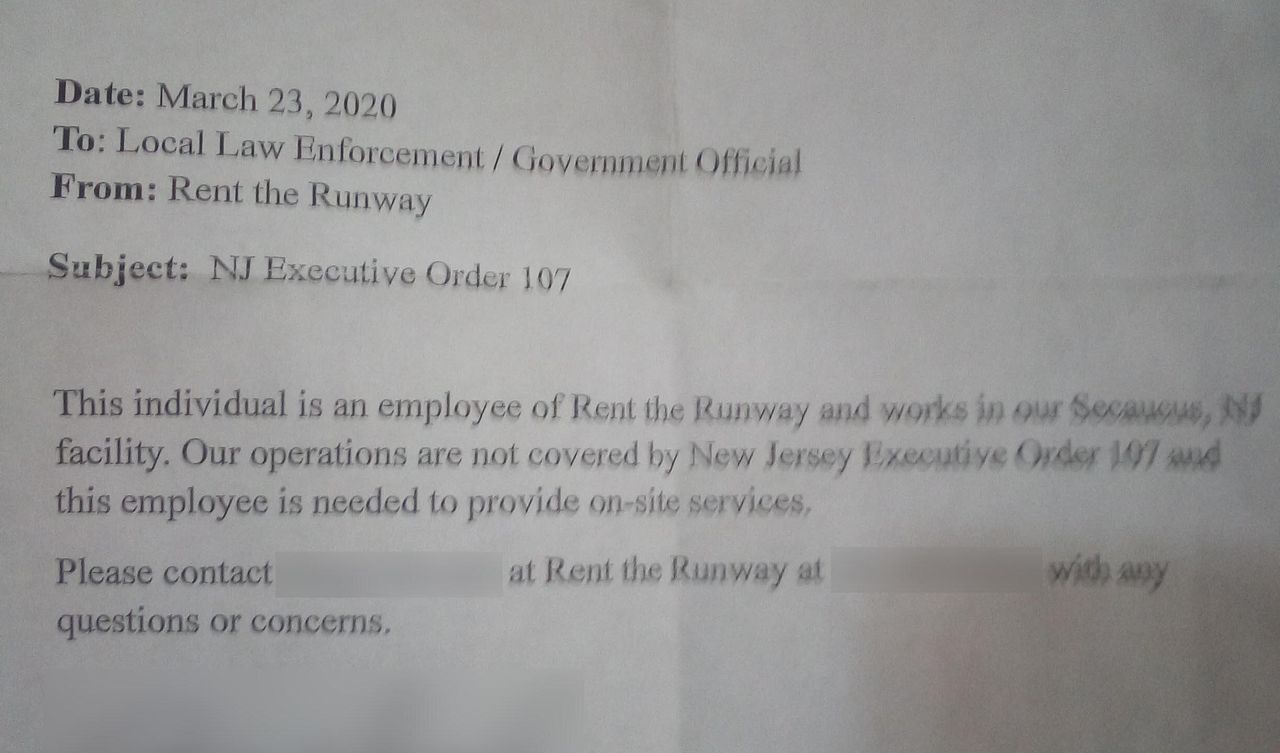 Rent the Runway has equipped certain warehouse employees with letters stating that they are essential workers.