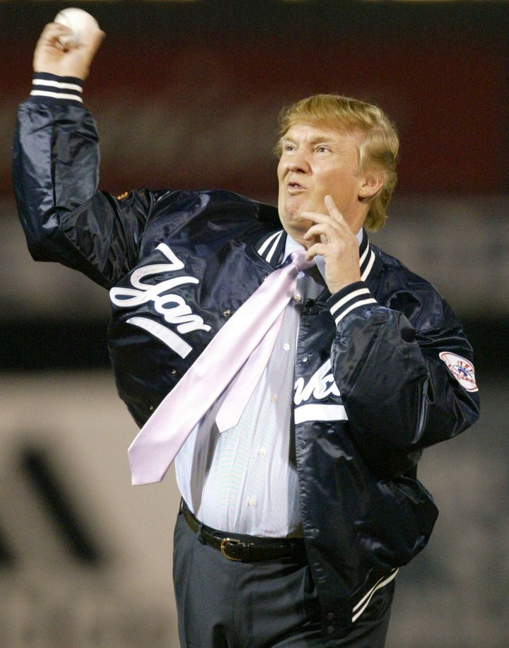 Donald Trump throws out the first pitch before the New York Yankees faced the Houston Astros in 2004.
