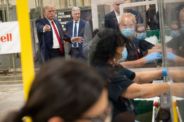 Donald Trump Tours New Face Mask Factory, Doesn't Wear A Face