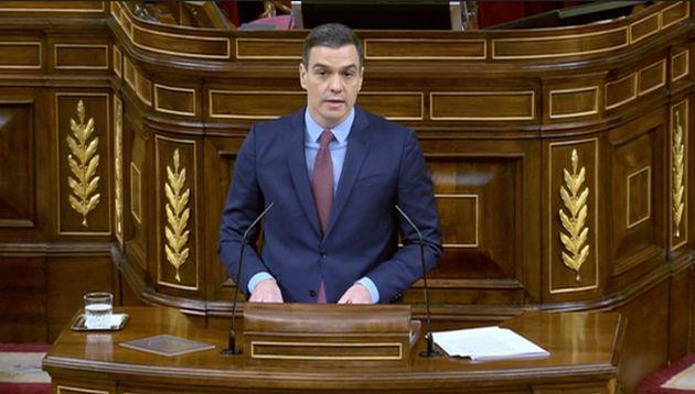 Pedro Sánchez, este miércoles en el Congreso durante el debate de la prórroga del estado de
