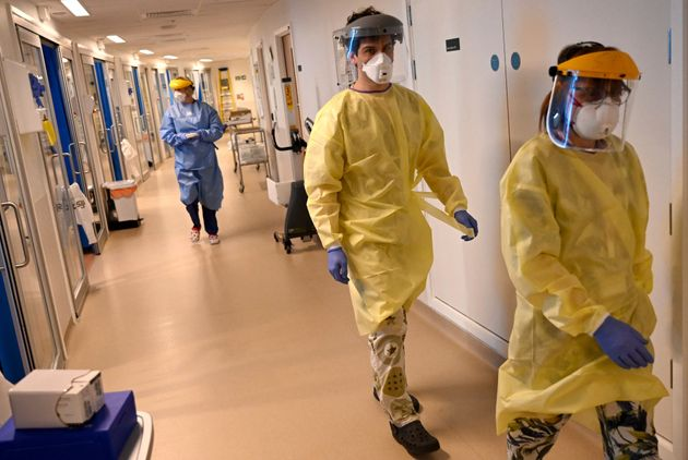 Clinical staff in the intensive care unit at the Royal Papworth Hospital in Cambridge, England, this