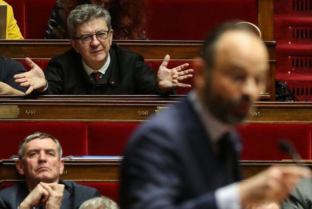 Jean-Luc Mélenchon, ici début mars à l'Assemblée, loue Edouard Philippe pour mieux dénigrer Emmanuel...