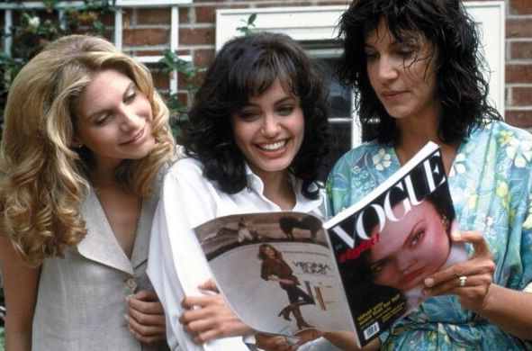 "Elizabeth Mitchell, Angelina Jolie and Mercedes Ruehl in ""Gia."""