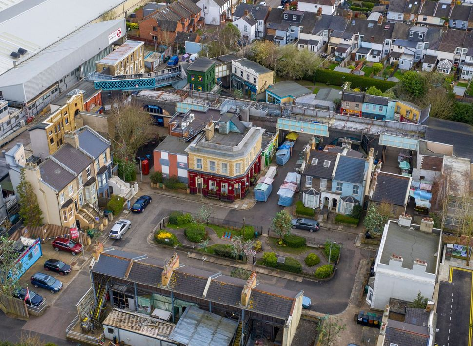 An aerial view of the now closed EastEnders set at the BBC's Elstree studios in Hertfordshire. All production...
