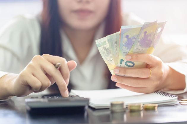Woman counting money Euro banknotes, Business or stock market concept