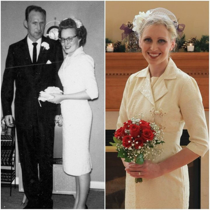 Betty on her wedding day in 1960 (left) and her granddaughter Erica on her wedding day in 2017 (right).