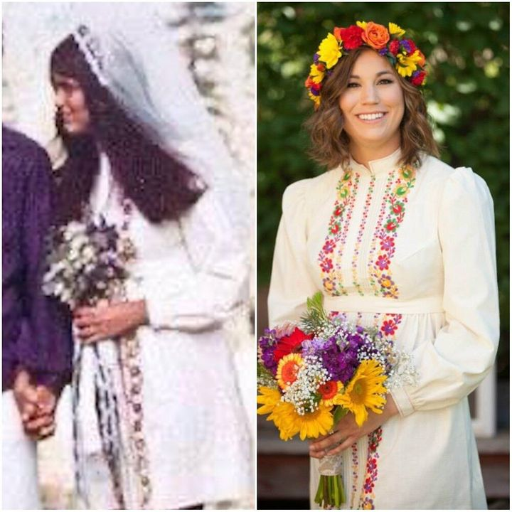 Jeannie on her wedding day in 1971 (left) and her daughter Erica on her wedding day in 2015 (right).