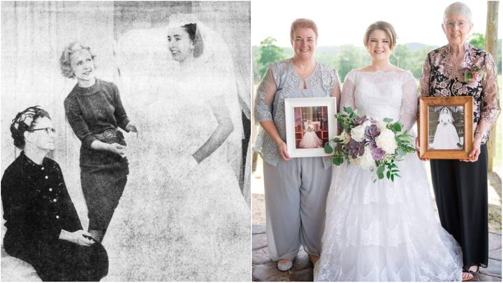 Helen was the first one to wear the dress in 1961 (left), followed by her daughter Donna in 1986 and finally Emily in 2019. In the photo on the right, Helen and Donna hold framed pictures of themselves in the dress on Emily's wedding day.