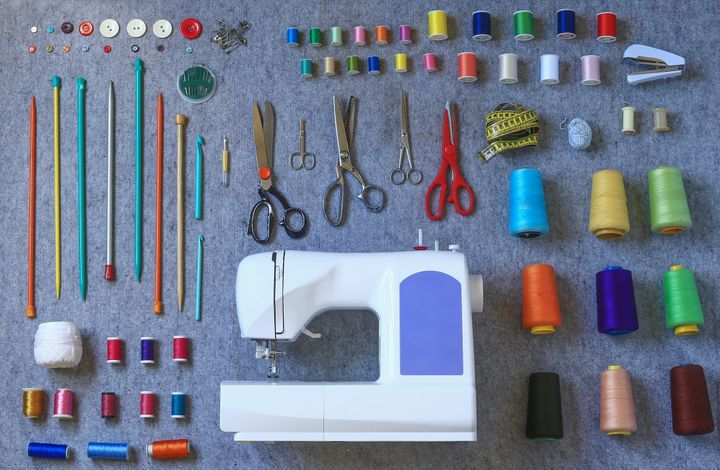 A good pair of fabric scissors for fabric cutting, a tape measure, a seam ripper and tailor's chalk or marking pencil are essentials to a well-stocked sewing box.