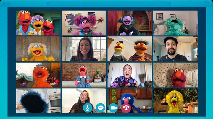 Elmo and his friends met up during a virtual playdate on April 14.