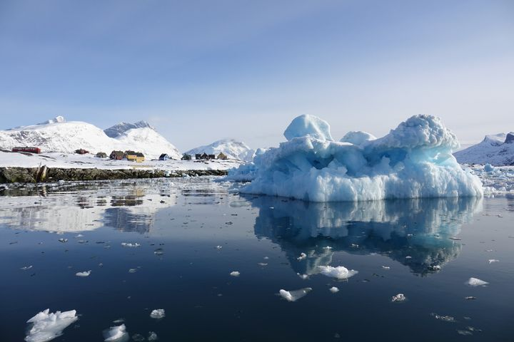 Ice floes in the Nuuk Fjord in Greenland.