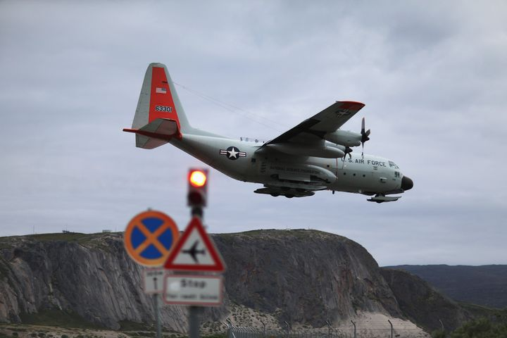 A pilot from the New York Air National Guard lands the ski-equipped National Science Foundation C-130 in Kangerlussuaq.