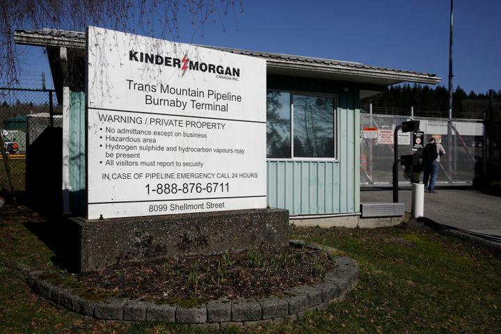 Kinder Morgan's Trans Mountain Pipeline Burnaby Terminal is pictured in Burnaby, B.C. on March 10, 2018.