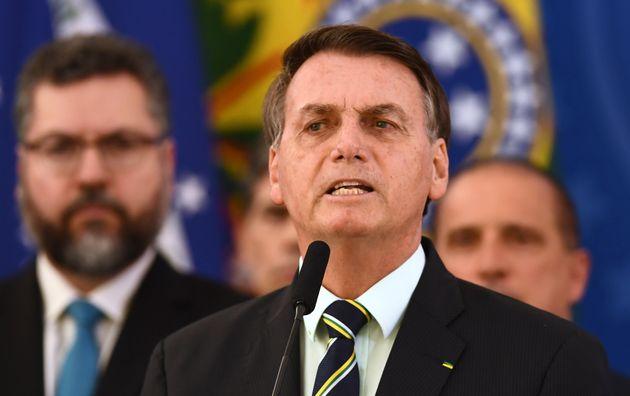 Brazil's President Jair Bolsonaro delivers a press conference in Brasilia, Brazil, on April