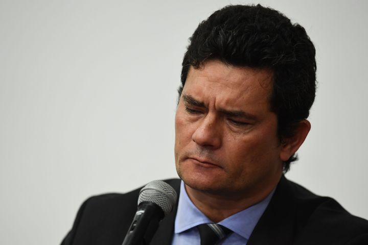 Brazilian Justice Minister Sergio Moro speaks at a press conference where he abruptly resigned his post on April 24.