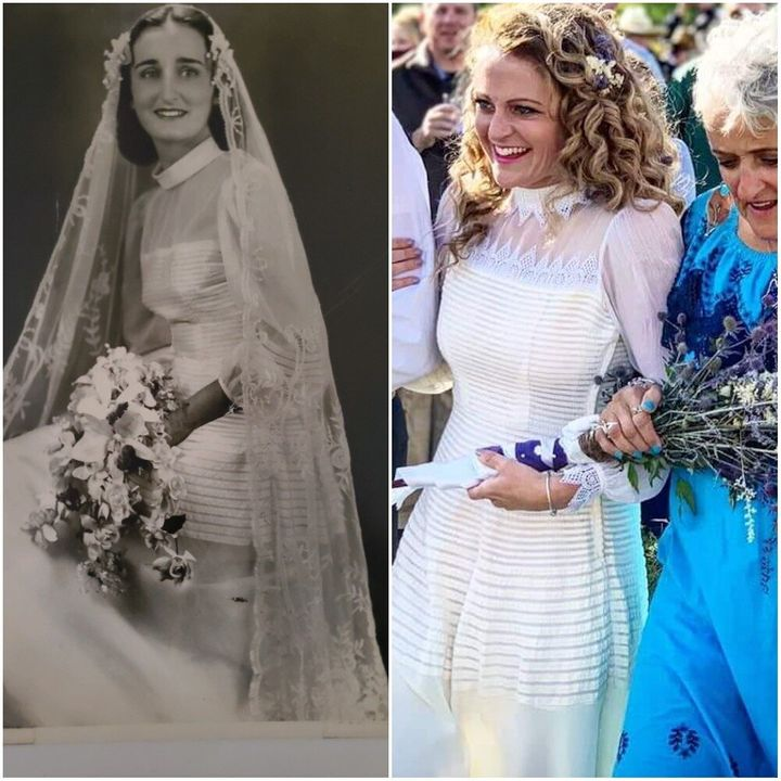 Dilys Ann on her wedding day in 1949 (left) and her granddaughter Augusta on her wedding day in 2019 (right).