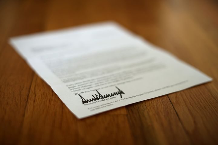 A letter bearing the signature of President Donald Trump to people who received a coronavirus economic stimulus payment.