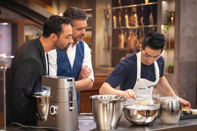 'MasterChef Australia: Back To Win' judges Andy Allen and Jock Zonfrillo with contestant Reynold