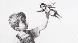 뱅크시가 의료진을 '슈퍼히어로'로 그린 작품을