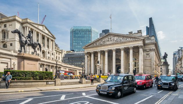 Great Britain, England, City of London, Bank junction in the financial centre of London with view of...