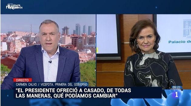 Carmen Calvo, en 'Los desayunos' de TVE el 7 de mayo de