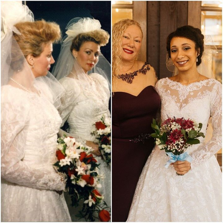 Vonessa on her 1992 wedding day (left) and her daughter Madelyn on her wedding day in 2018 (right).