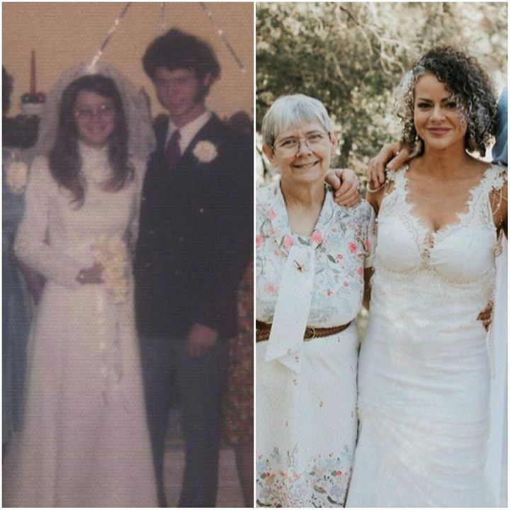 Robbin wearing the dress at her 1974 wedding (left) and her daughter Christina wearing the updated dress in 2019 (right).