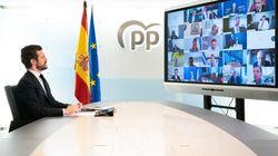 Casado tuvo que improvisar una videollamada con sus diputados para explicar su voto al estado de