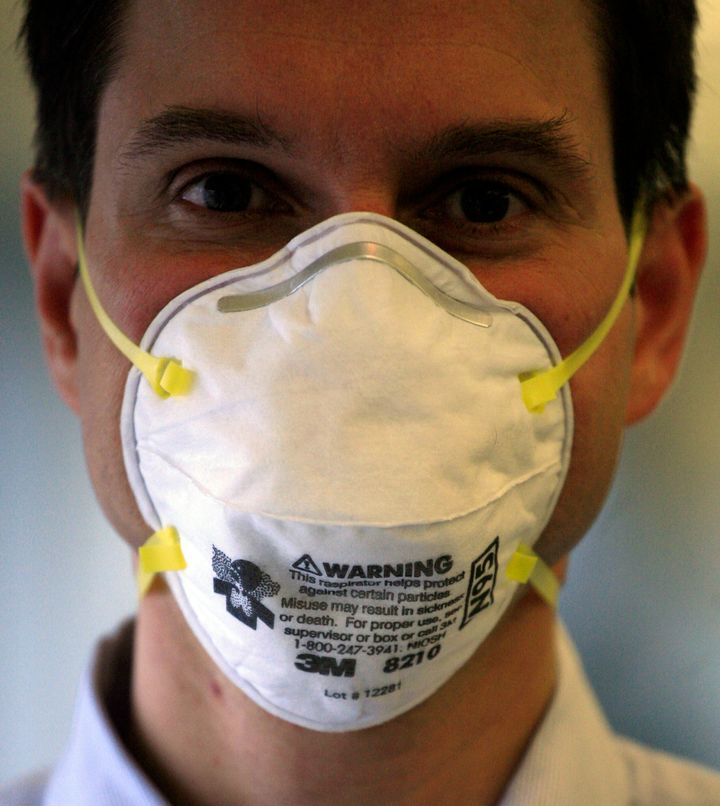 A 3M N95 mask, which is certified by NIOSH. These masks ensure that at least 95% of small airborne particles are filtered out