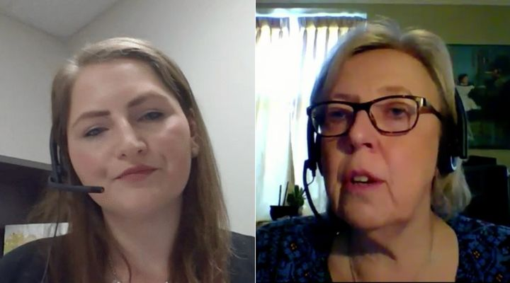 Conservative MP Rosemarie Falk and Green Party parliamentary leader Elizabeth May participate in a meeting of the special committee on the COVID-19 pandemic in West Block on May 7, 2020.