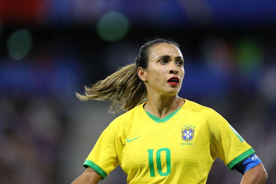 Marta durante a final da Copa feminina de 2019 - em que o Brasil foi eliminado pela